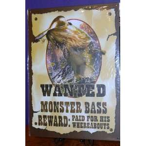 Metal Tin Sign   Wanted Monster Bass Man Cave Country Western Home