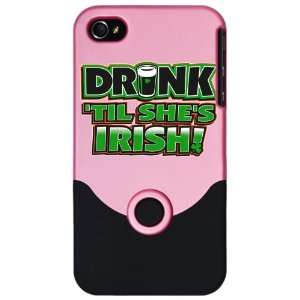 Pink Drinking Humor Drink Til Shes Irish St Patricks Day Clover
