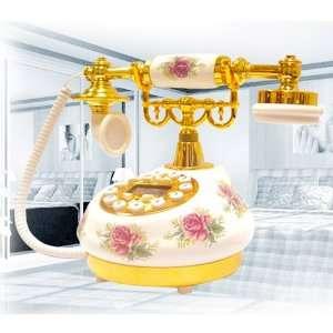 Antique Telephone Five Golden Flowers Electronics