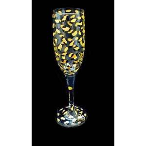 Gold Leopard Design   Hand Painted   Champagne Flute