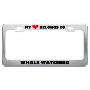 My Heart Belongs To Whale Watching Hobby Sport Metal License Plate
