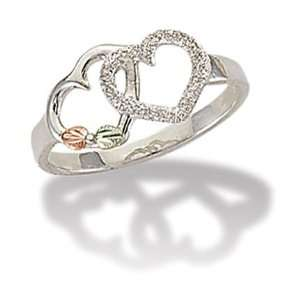 Landstroms Black Hills Silver Double Heart Ring   LR3019SS Jewelry