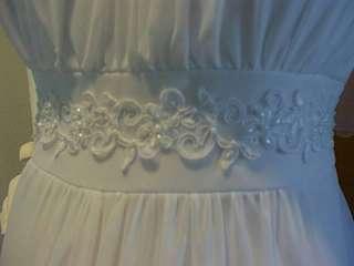 New Long White Maternity Wedding Dress 2X Bridal Trim