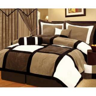 , Brown, and White Suede Comforter/bed in a bag Set Twin Size Bedding