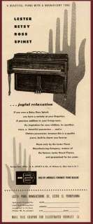 NICE 1947 LESTER PIANO CO. AD FOR THE BETSY ROSS SPINET