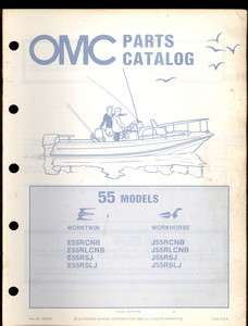 1982 OMC / JOHNSON EVINRUDE 55 HP OUTBOARD MOTOR PARTS MANUAL