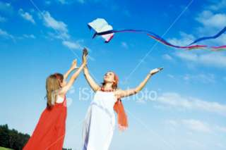 Girl with Kite Royalty Free Stock Photo