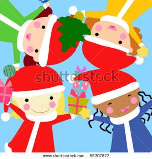 Children That Wish Merry Christmas Stock Vector 65207872