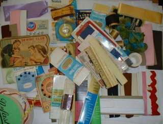 Large Lot of Vintage Sewing Notions   ribbon, zippers, rick rack