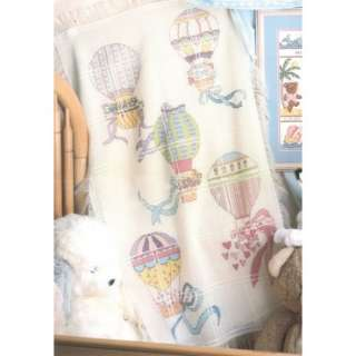 18 Count Hot Air Balloons Baby Afghan Counted Cross Stitch Kit 50487