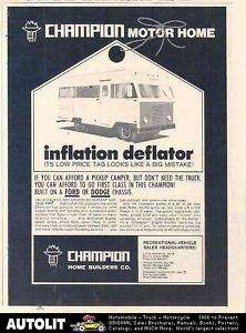 1970 Champion Ford Dodge Motorhome RV Ad