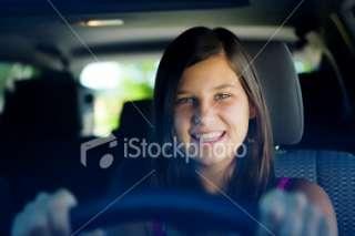 Teenage Girl Driving Car Royalty Free Stock Photo