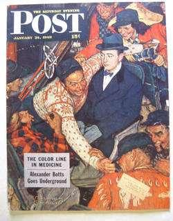 1948 January 24 S/E POST Magazine   Norman Rockwell   Ski Train