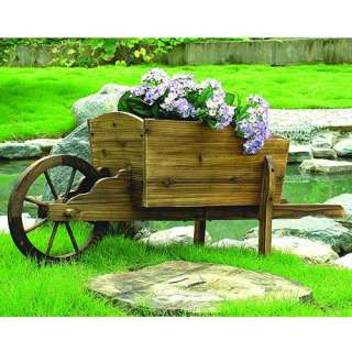 Wooden Wheel Barrow Garden Center