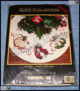 Gold MYSTICAL ANGEL TREE SKIRT Counted Cross Stitch Kit