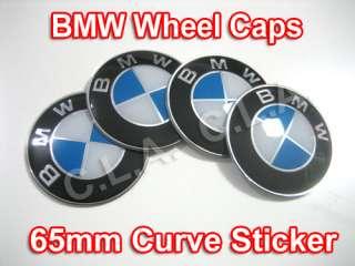 High Quality BMW Wheel Hub Caps Sticker 65mm (Curve)