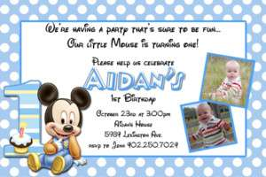 Baby Mickey & Minnie Mouse First Birthday Invitations
