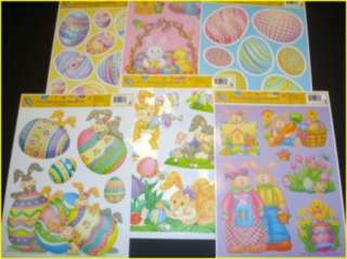 Sheets Bunny Chick Eggs Easter Window Clings Decoration NEW