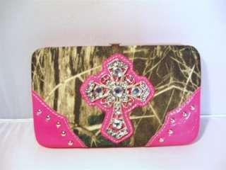Hot Pink Camouflage Western Rhinestone Cross Cowgirl Flat Checkbook