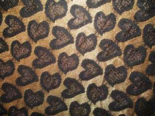 Hearts Valentines Day Black Lace Fashion Fabric BTY