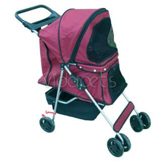 Dark Red 4 Wheels Pet Dog Cat Stroller HEAVY DUTY