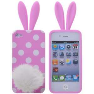 White Spots Pattern Rabbit Rubber TPU Case Cover for