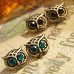 Colors Retro Green Big Eyes Owl Ear Pin Stud Earring  E8