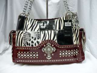 Western Patched Zebra Leopard Exotic Animal Rhinestone Cross Purse