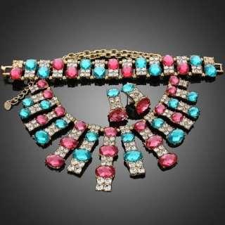 Fuschia Clear Rhinestone Pendant Necklace Bracelet Earrings Set