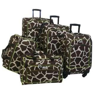 Flyer Animal Print 5 Piece Spinner Luggage Set   Giraffe Green $480