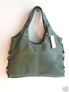 Franco Sarto Hunter Green leather handbag hobo NWTs