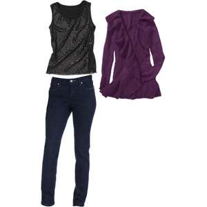 Layers We Love   Womens Ruffle Sweater, Sequin Tank and