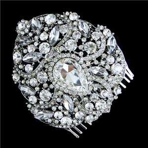 Hot Wedding Flower Teardrop Hair Comb Swarovski Crystal