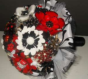 BLACK & WHITE Bridal Brooch Bouquet Wedding Flower alternative