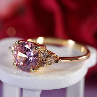 Lady Fashion Jewelry Pink Sapphire Yellow Gold GP Cocktail Gem Ring