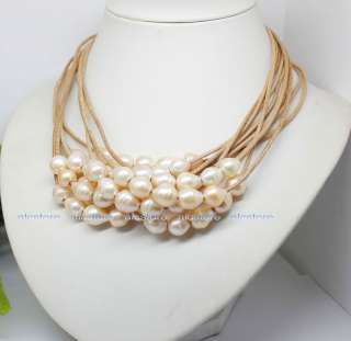 10pcs big natural pink growth rings pearl & leather necklace wholesale