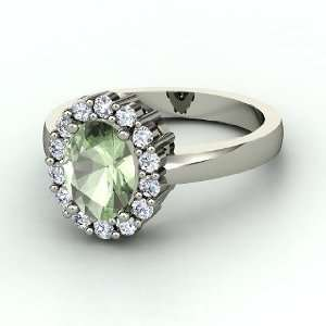 Penelope Ring, Oval Green Amethyst 14K White Gold Ring