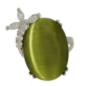 Dusty Olive Green Cat Eye Big Oval Single Stone Cocktail Fashion Ring