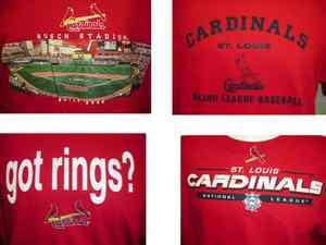 Mens St. Louis Cardinals Red Graphic Nbl Baseball Logo S/S Tee T shirt