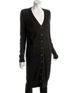 Haute Hippie black silk cotton v neck long cardigan sweater