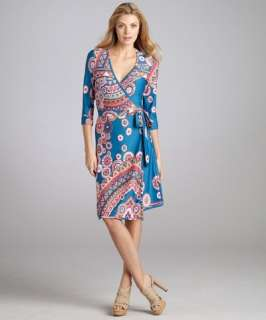 JB by Julie Brown blue magnolia print 3/4 sleeve wrap dress