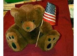 GRIZZLY BROWN PLUSH TEDDY BEAR & AMERICAN FLAG LRG PAWS