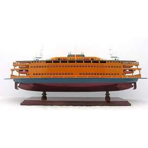 Staten Island Car Ferry Boat Wood Scale Model Ship 24 Home & Kitchen