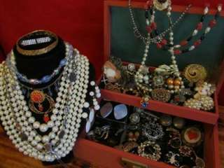 Huge Vtg/Estate Jewelry Box Lot Rhinestone/Wear/Repair/Steampunk/Junk