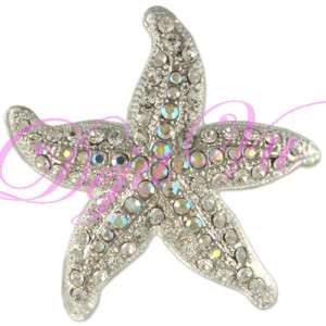 RHODIUM CRYSTAL SEA STAR FISH BROOCH PIN MADE WITH SWAROVSKI ELEMENTS
