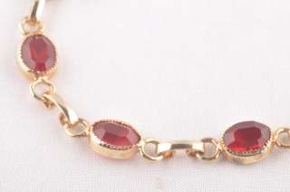 Vintage Red Ruby Glass Stone Gold Chain Link Bracelet