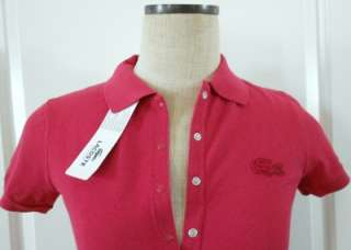 LACOSTE WOMEN Size 4 36 NWT $85 BIG Croc Polo Shirt Top RED Pique