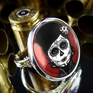 Muertos Day of the Dead Girl Gothic Tattoo Sterling Silver Ring R 298