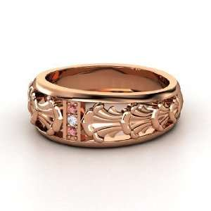 Venus Band Ring, 14K Rose Gold Ring with Red Garnet & Diamond Jewelry