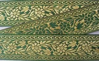 acquard ribbon trim metallic gold flowers on emerald green background